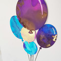 Balloons Birthday Card, Alcohol Ink Card, Kids Birthday Card