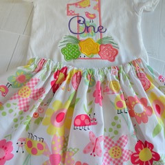 1st Birthday Outfit, Customised Outfit, Floral Shirt, Personalised One Outfit