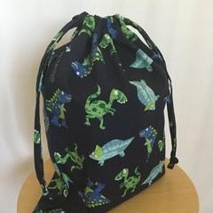 Drawstring Bag:  NAVY DINOSAUR