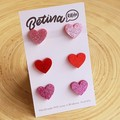 3x Love Heart Stud Earrings  // Cute  // Hypo-Allergenic // Free Postage to Aus