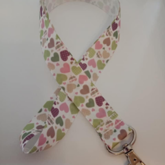 Green and pink patchwork heart print lanyards / ID holders / badge holders