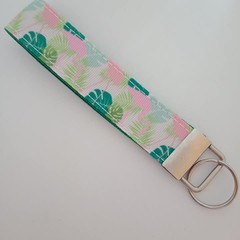 Pink and green tropical / flamingo lanyard / ID holder / badge holder