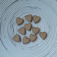 10 x Wooden Shape Heart Embellishments (20mm x 18mm x 3mm) ~ Scrabble Tile Size