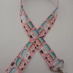 Pink and blue reindeer Christmas cupcake lanyard / ID holder / badge holder