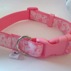 Pink cherry blossom print adjustable dog collars medium