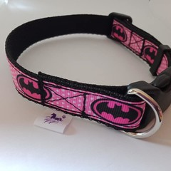Pink and black batgirl print adjustable dog collars small / medium