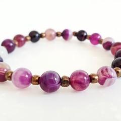 Natural Gemstone Bracelet Purple Striped Agate