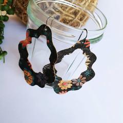 Floral Cork Dangle Earrings - Hypoallergenic - Lightweight Dangle Earrings -