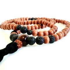 Natural Black Lava 108 Bead Mala Boho Necklace Aromatherapy Diffuser