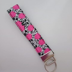 Pink and black rose print key fob wristlet