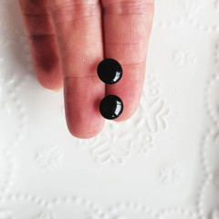 Glossy black dome stud earrings handmade with black resin. Beautiful and simple