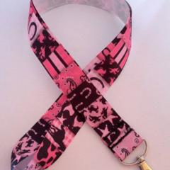 Pink and black horse lanyard / ID holder / badge holder