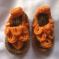 crochet orange sandals