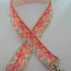 Pink candy heart love / Valentine's Day print lanyard / ID holder / badge holder