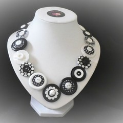 Unique button necklace - Spots and Dots
