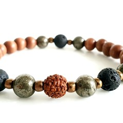 Natural Chalcopyrite Black Lava & Rudraksha Wrist Mala Aromatherapy Bracelet