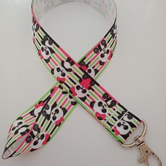 Pink and green panda / animal print lanyards / ID holders / badge holders
