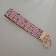 Pink giraffe print key fob wristlet