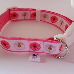 Pink flower bridal / wedding adjustable dog collars  medium / large