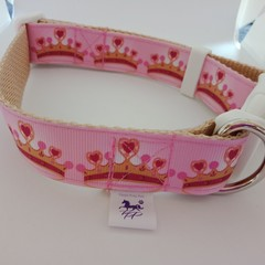 Pink crown pattern adjustable dog collars medium / large
