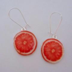 Pink grapefruit charm earrings