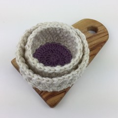 2 Crochet Trinket Basket | Natural | Purple | Hand Crocheted | Wool | Gift Idea