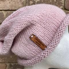 Knitted pink slouchy beanie alpaca ladies pink beanie