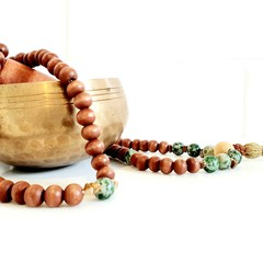 Natural Tree Agate and Jasper 108 Bead Mala Necklace