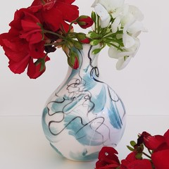 Handmade, Porcelain, Bottle/Vase form.