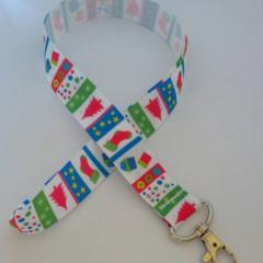 Pink green and blue Christmas stocking lanyard / ID holder / badge holder