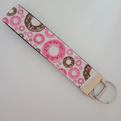 Pink and brown donut print lkey fob wristlet