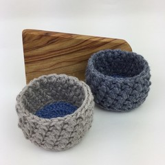 2 Crochet Trinket Basket | Natural Charcoal Blue | Hand Crocheted | Wool Bamboo