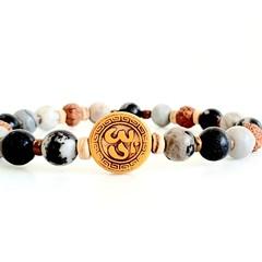 Natural Black Silk Stone (Onyx) Om Bracelet
