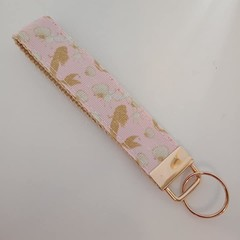 Pink and gold mermaid key fob wristlet