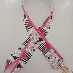 Pink fashion model print lanyard / ID holder / badge holder