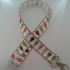 Pink and green Christmas tree lanyard / ID holder  / badge holder