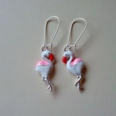 Pink and white flamingo bird earrings