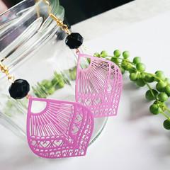 Lightweight Bohemian Statement Earrings, hand painted Antiqued Brass Boho Jewelr