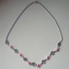 Pink and silver flower necklace