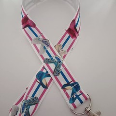 Pink and blue stiletto high heal shoe fashion lanyard / ID holder / badge holder