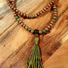 Natural Unakite 108 Bead Mala Necklace