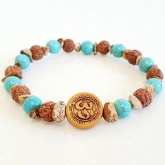 Natural Gemstone Om Turquoise, Jasper and Rudraksha Bracelet