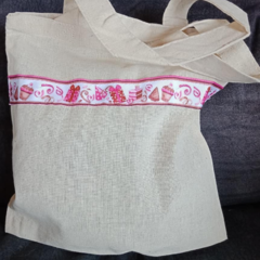 Pink birthday party gift bag / tote bag