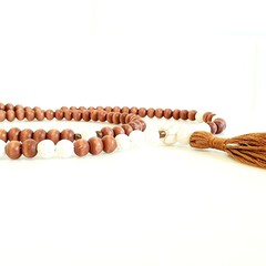 Natural White Lava 108 Bead Mala Necklace Aromatherapy Diffuser