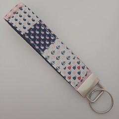 Pink and blue nautical whale key fob wristlet