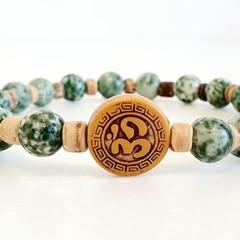 Om Mala Boho Bracelet Natural Gemstone Green Spot Jasper and Coconut Spacers