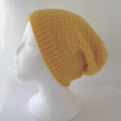 Bright Yellow Slouchy Hat in Small to Medium Adult Size