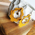 Mustard yellow and gold faux leather earrings, Statement earrings