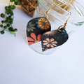 floral cork earrings,lightweight, great for sensitive ears, Unique Gift,