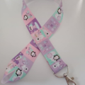 Pink and purple penguin / Christmas lanyard / ID holder / badge holder